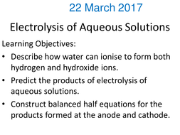 electrolysis of aqueous solutions and half equations gcse by