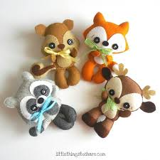 woodland animals set of four pdf sewing pattern deer fox raccoon