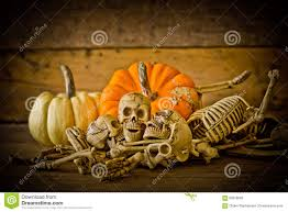 happy halloween background human skull on wood background skeleton and pumpkin on wood