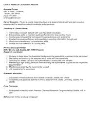 ideas collection cover letter for research study coordinator for