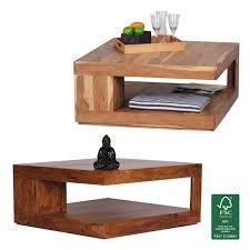Wohnzimmertisch Metallgestell Finebuy Couchtisch Massiv Holz 90 Cm Breit Design Wohnzimmer Tisch