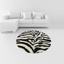 Round Area Rugs Contemporary by Amazon Com Soft Shag Round Area Rug 5 Ft Zebra Black White