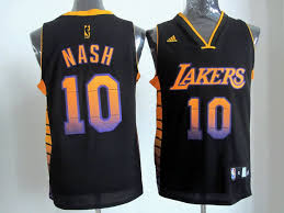 adidas nba los angeles lakers 10 steve nash black color swingman
