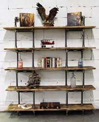 Ebay Bookcase by Natural Wood Bookcase Wall Mounted 5 Shelf Industrial Modern Book
