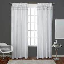Winter Window Curtains Glitz Winter White Rod Pocket Top Window Curtain Eh7973 03 2 96r