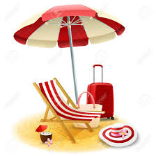 cartoon cocktail beach deck chair and umbrella with suitcase and cocktail cartoon