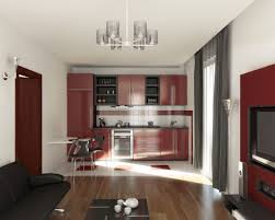 kitchen modern compact kitchen living room with maroon kitchen