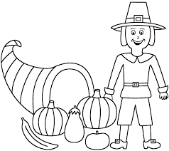 horn of plenty with pilgrim coloring page thanksgiving