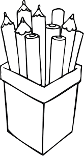 printable outline of pencils in a container for kids coloring