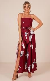 wine jumpsuit so me jumpsuit in wine floral showpo