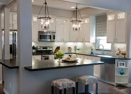 Stainless Steel Kitchen Light Fixtures Modern Black And White Kitchen With Stainless Steel Appliances And