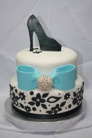 bridal shower cake black and white with tiffany blue bow