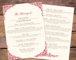 indian wedding program template indian ceremonies etsy