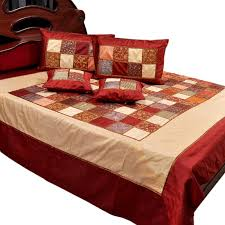 buy 5 piece chess design silk double bed cover set 347 online