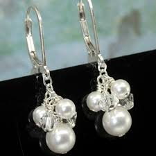 cluster earrings pearl cluster earrings vintage wedding jewelry