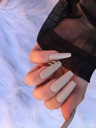 matte pierced nails set of 24 long coffin nails