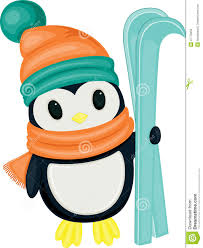 cute cartoon penguin with skis stock photography image 37770062