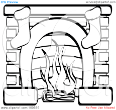 printable coloring picture of a fireplace