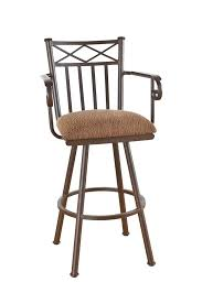 Wood Bar Stool With Back Callee Arcadia Swivel Stool With Arms And Tall Back Upholstered
