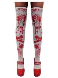 white blood stained stockings tights zombie nurse halloween