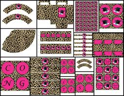 leopard print party supplies graduation theme pink cheetah printable party package