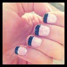 pink sparkle gel nails with black tips the makeup kit