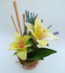 flowers cold porcelain miniature yellow lily home decor hand made