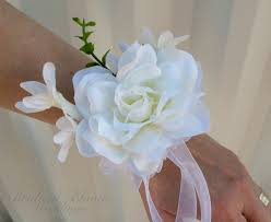 White Corsages For Prom White Gardenia Wrist Corsage Wedding Corsages