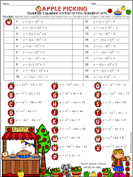 writing quadratic equations from vertex form to standard form practice worksheet