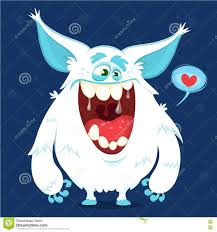 cute cartoon monster yeti vector bigfoot character for halloween