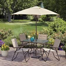 Patio Dining Set With Umbrella Mainstays Glenmeadow 6 Folding Patio Dining Set With