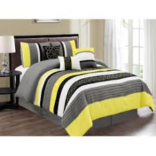 Striped Comforter Yellow And Gray Comforter
