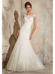 mori lee mori lee 5305 rouched tulle fishtail gown with lace trim