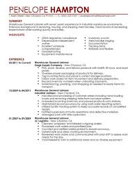Clerical Resume Sample Example Of A Warehouse Resume Resume Example And Free Resume Maker