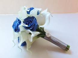 wedding flowers royal blue bridesmaid bouquets white calla and royal blue roses