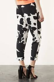 topshop cow print pyjama look trousers in white lyst