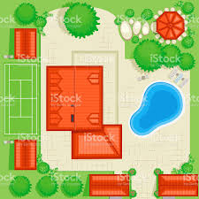 House Plans With A Pool Residential House Plan With A Pool And Tennis Court Stock Vector