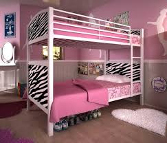 kids bedroom pink futon bunk beds with zebras pattern accent and