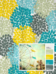 Blue And Yellow Shower Curtains Shower Curtain In Yellow Blue Gray Floral Standard And