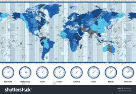 Map Of World Time Zones by Map World Standard Time Zones Blue Stock Vector 576978154