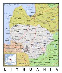 Lithuania World Map by Detailed Political Map Of Lithuania With Relief Lithuania