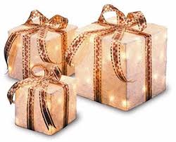 Decorative Christmas Gift Boxes Lighted Christmas Presents Sisal Gift Boxes Prelit Bow Indoor