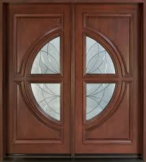 modern entry doors for home with round stained leaf pattern glass