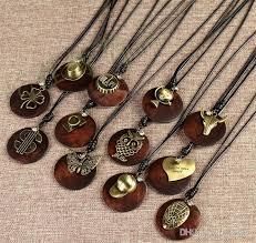 wood pendants necklace images Wholesale vintage solid wood necklaces oval double giraffe ngau jpg