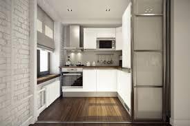 interior small l shape white kitchen design with laminate floor