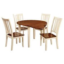 Sun  Pine Pc Curved Edge Round Dining Table Set WoodCherry And - Round kitchen table sets