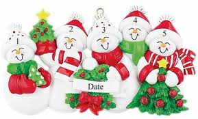 buy snowman family of 5 with and green scarves ornament
