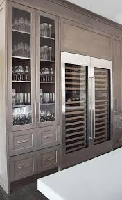 China Kitchen Cabinet Love The Gray Washed Cabinets And Glassware Storage Side By Side