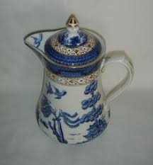 willow pattern jam pot churchill blue willow china tea pot made in england displayed not