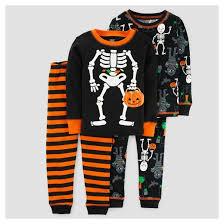 baby boys 4pc skeleton sleeve cotton pajama set